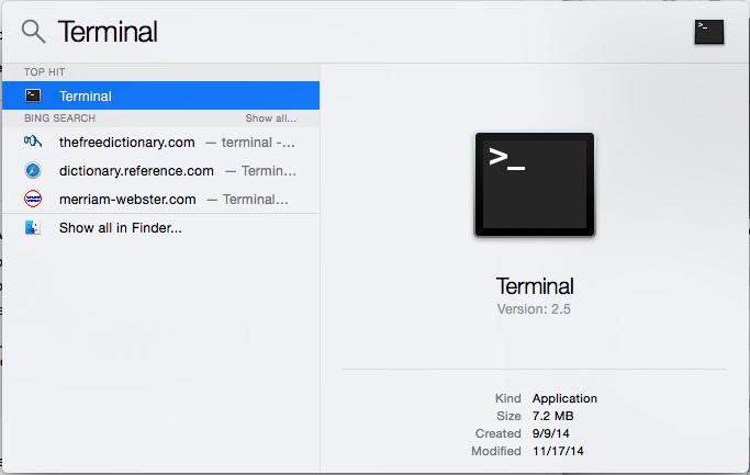 Terminal via Spotlight